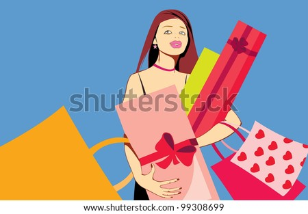 vector image of pretty woman with presents after shopping isolated on blue - stock photo