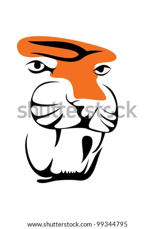 vector image of tiger head isolated on white