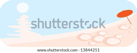 vector image of tropical beach - stock photo