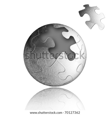 Vector Jigsaw puzzle sphere with one piece to complete the sphere. Business Concept - stock photo