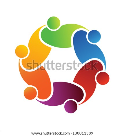 Vector Logo Social Friends. Group of People - stock photo