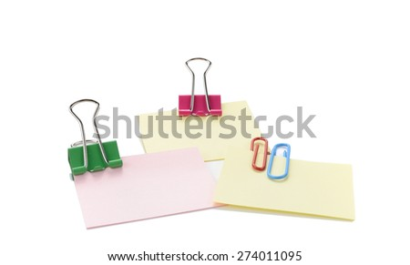 Vector Note Paper With Clip - stock photo