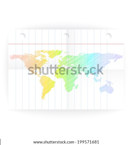 Vector notepad ruled page with folded lines and world map rainbow crayon colored.  - stock photo