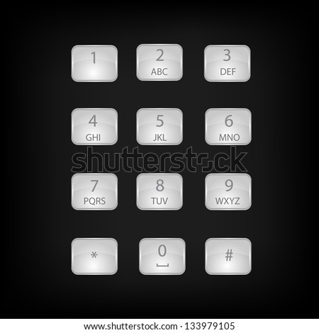Vector number phone keypad buttons with alphabet