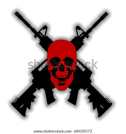 Vector of a human skull with two guns crossed behind it. could be used as a sign or symbol or even a logo.