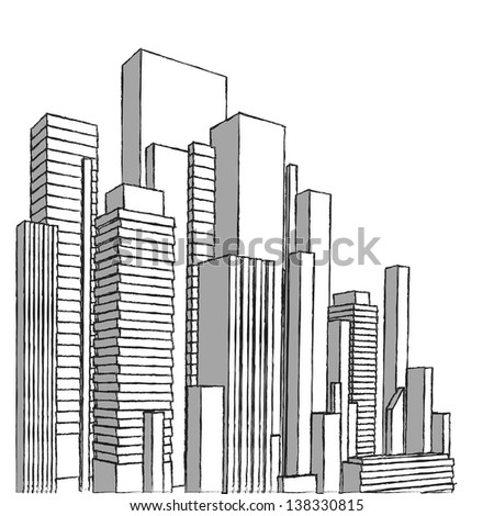 Vector of graphical urban cityscape (sketchy pencil strokes). Raster version. - stock photo