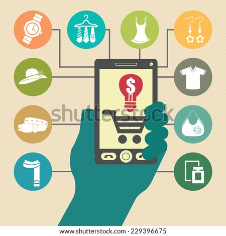 Vector : Online Business, E-Commerce or Online Shopping Diagram - stock photo