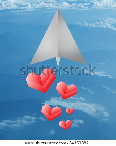 vector paper aircraft drop a lot of paper heart.Paper airplane with love  - stock photo
