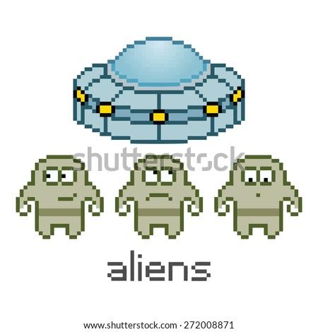 Vector pixel art cute aliens and UFO - stock photo