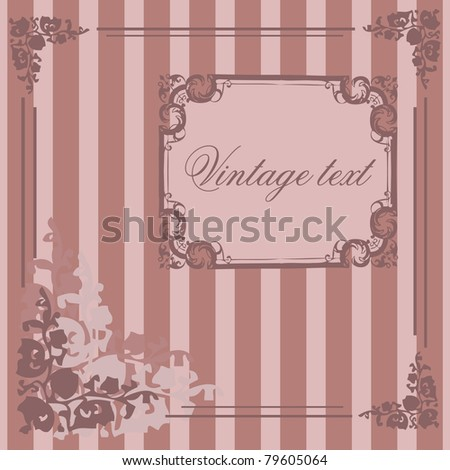 vector romantic vintage styled   card with floral ornament illustration background - stock photo