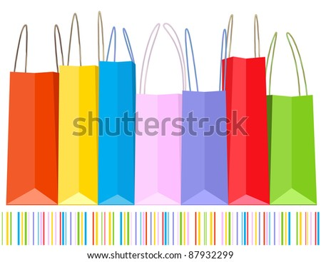 Vector row of shopping bags and striped pattern. - stock photo