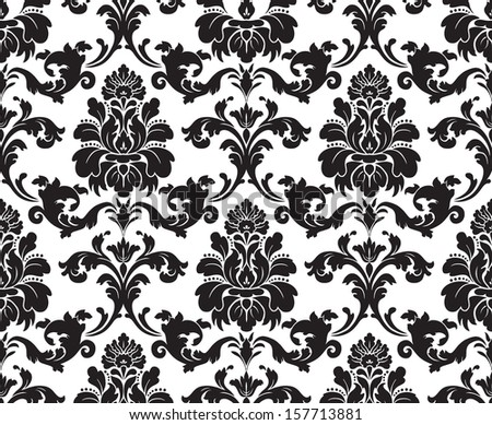 Vector. Seamless damask pattern. Fabric swatch. Black and white. - stock photo
