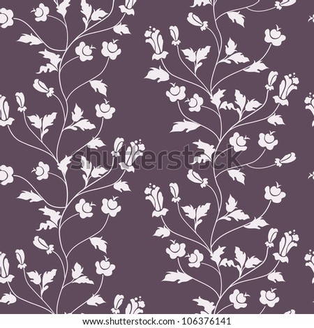 Vector seamless floral background with flowers on branches - stock photo