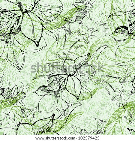 Vector seamless floral grunge pattern with flowers and leafs - orchid