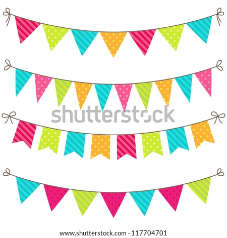Vector set of colorful and bright bunting. Raster version. - stock photo