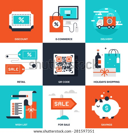 Vector set of flat shopping and commerce icons. Icon pack includes following themes - delivery, ecommerce, QR code, discount, holidays shopping, for sale, savings, new product, wish list - stock photo