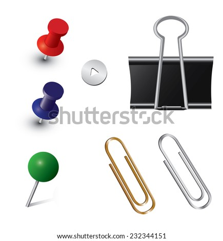Vector set of office pins - stock photo