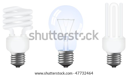Vector set of photo-realistic usual and modern energy saving lamps. Isolated on a white
