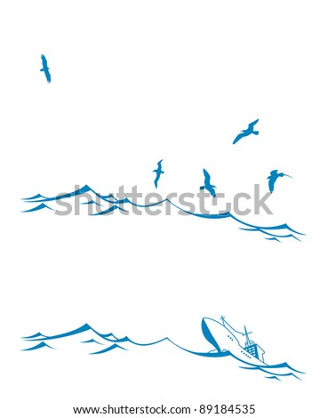 vector set seascape on white background