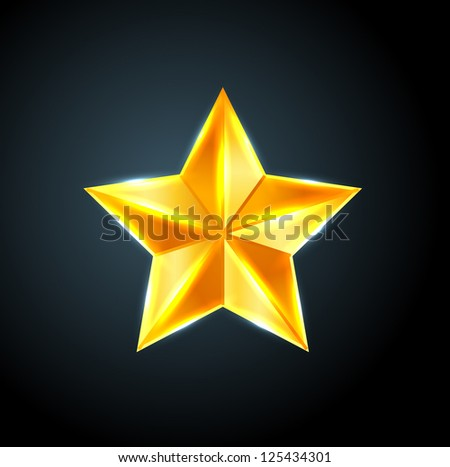 Vector shiny golden star - raster version - stock photo