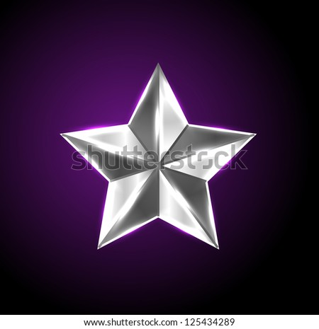 Vector shiny silver star - raster version - stock photo
