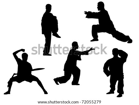 Vector silhouette of kung fu poses - stock photo