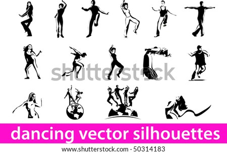 Vector silhouettes of dancing people isolated on white background