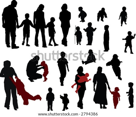 Vector silhouettes of Family (mother, father, boys and girls) - stock photo