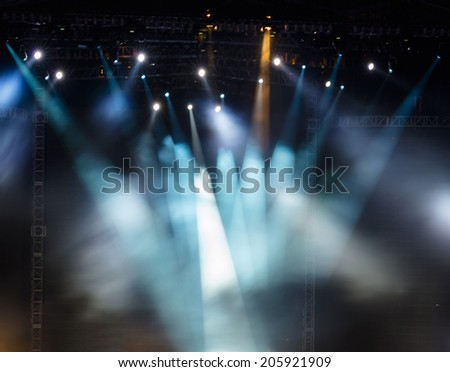 Vector Stage Spotlight with Laser rays - stock photo