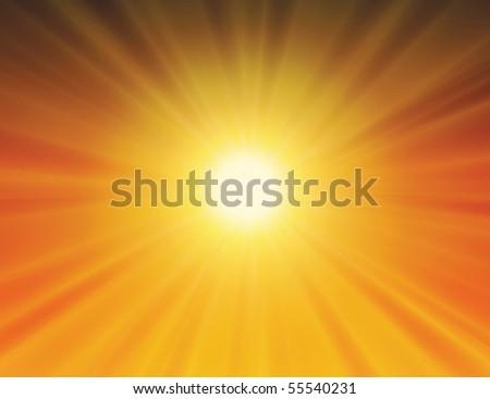 vector sun on yellow background with orange rays - stock photo