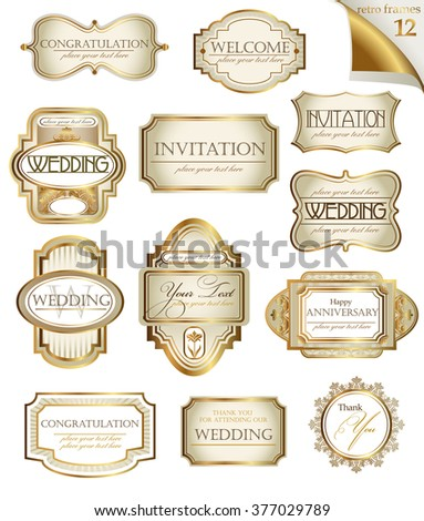Vector white gold-framed  ornamental labels set. Easy to scale and edit. All pieces are separated. - stock photo