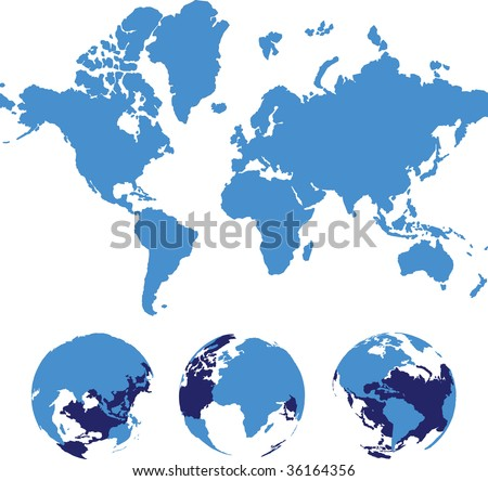 Vector world map isolated over a white