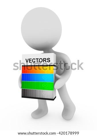 Vectors box - 3D illustration - stock photo