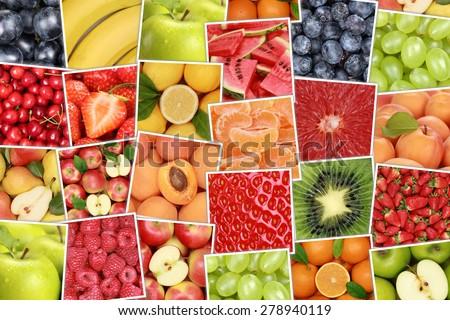 Vegan and vegetarian fruits background with apples, oranges, strawberries, banana, cherries - stock photo
