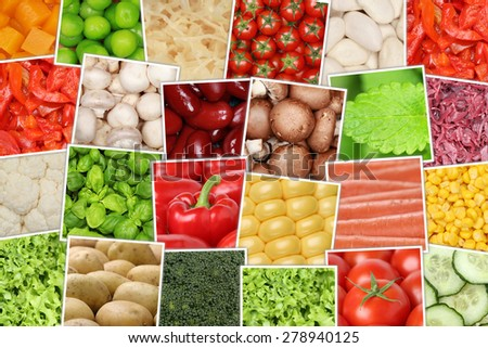 Vegan and vegetarian vegetables background with tomatoes, paprika, lettuce, herbs, beans and cucumber - stock photo