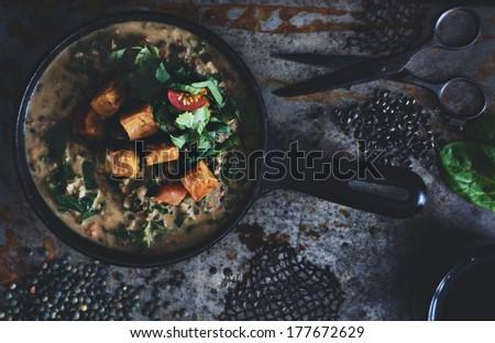 Vegan Coconut Milk Lentil Soup.  - stock photo