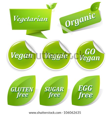 Vegan Food Symbols, Isolated On White Background - stock photo