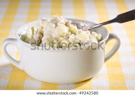 Vegan Potato Salad made with potatoes, celery, onions, and egg-free mayonnaise