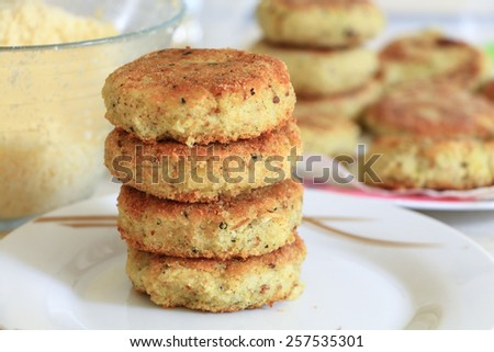 Vegan sea burger patties closeup background - stock photo