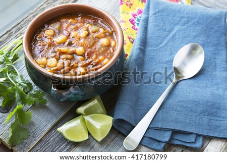 Vegan style mexican posole with hominy and pento beans.