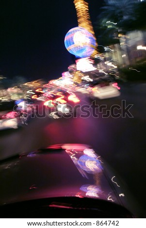Vegas at night as seen from a car's sunroof