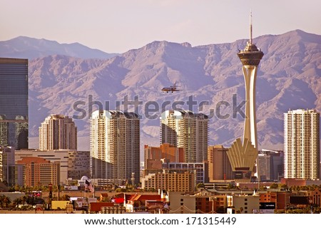 Vegas Cityscape. Las Vegas, Nevada Downtown Skyline. United States. - stock photo