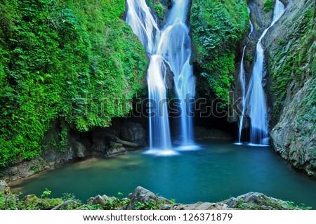 Vegas grande waterfall in Topes de Collante, Trinidad, Cuba - stock photo
