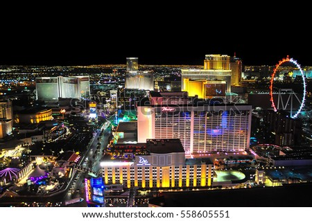 VEGAS, NEVADA, USA - January 11th, 2016: Vegas view at night with high roller, Flamingo, Venetian, Mirage and other hotels