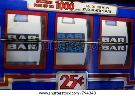 vegas slots hitting three bars - stock photo