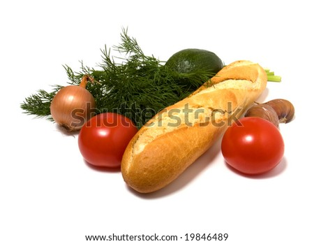 vegetable and bread isolated on white