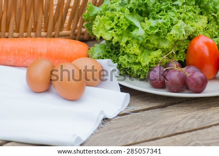vegetable and egg in kitchen countryside