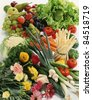 Vegetable and flower composition - stock photo