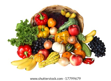 Vegetable and fruit in the basket isolated on white