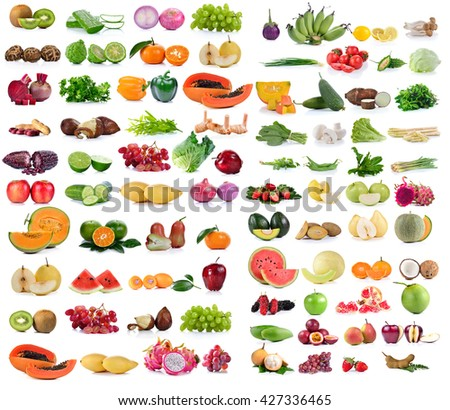 Vegetable and Fruit isolated on white background